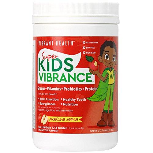 Santé vibrant - Super Kids Vibrance, verts, vitamines, probiotiques et en protéines, Apple génial, 14 portions