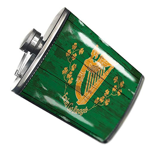 Leather Erin (NEONBLOND Flask Flag on Wood Erin Go Bragh, Ireland Forever Hip Flask PU Leather Stainless Steel Wrapped)