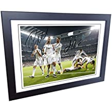 Signed 12x8 Black Soccer Cristiano Ronaldo Sergio Ramos Real Madrid Autographed Photo Photograph Football Picture Frame Gift A4