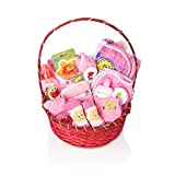 SESAME STREET Newborn Gift Basket For Baby Girls (0-6 Months), 23 Piece Bundle Filled Baby Gift Basket, Perfect Ideas For Birthdays, Easter, Christmas, Get Well, or Other Occasion