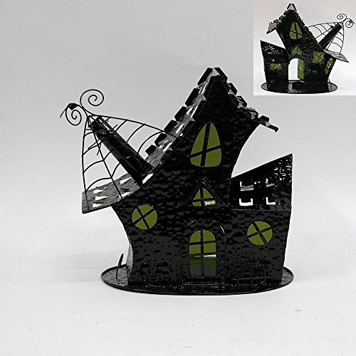 Salem's Witch Cottage Haunted House Halloween Tea Light Candle Holder Village by Retro Halloween Decor]()
