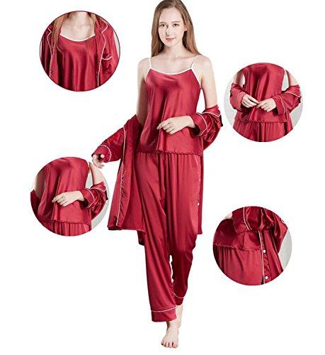 Rosso seta il imitazione DANDANJIE a Signore zaffiro d'autunno per e pigiama indossare lunghe di 2018 rosso d'inverno pigiami in 3 Dimensione Nuovo tempo set blu maniche L Rosso Colore libero q5qPCxw6n