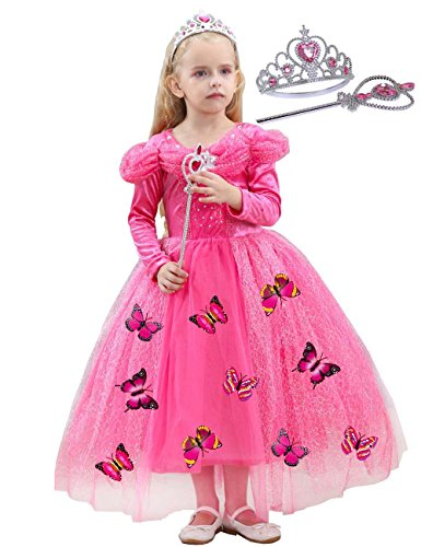 JYH Girls' New Cinderella Princess Long Sleeve Dress Butterfly Party Costumes with Crown(Watermelon red,5T-6T) by JYH