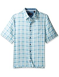 Men's Plaid Print Traditional Fit Silk Blend Shirt