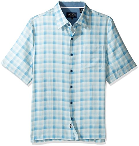 Nat Nast Men's Plaid Print Traditional Fit Silk Blend Shirt, Lapis Blue, L (Silk Plaid Shirt)