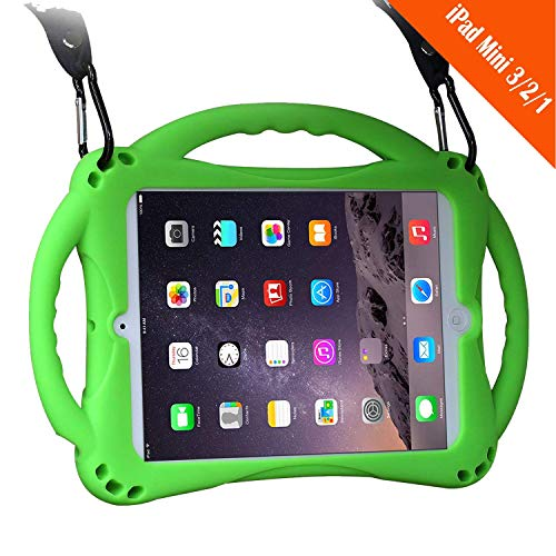 TopEs iPad Mini Case Kids Shockproof Handle Stand Cover&(Tempered Glass Screen Protector) for iPad Mini, Mini 2, Mini 3 and iPad Mini Retina Models (Green) (Tablet Cases Protected)