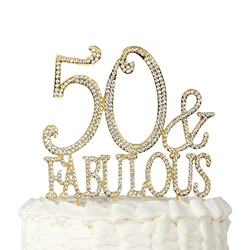 50 Fabulous Cake Topper Gold For 50th Birthday Party Decoration Supplies
