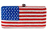 American Flag Shaped Crystal Clutch Special Occasion Evening Bag Red Silver Blue