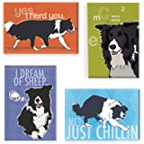 Pop Doggie Border Collie Refrigerator Magnets with Funny Sayings (Set of 4)