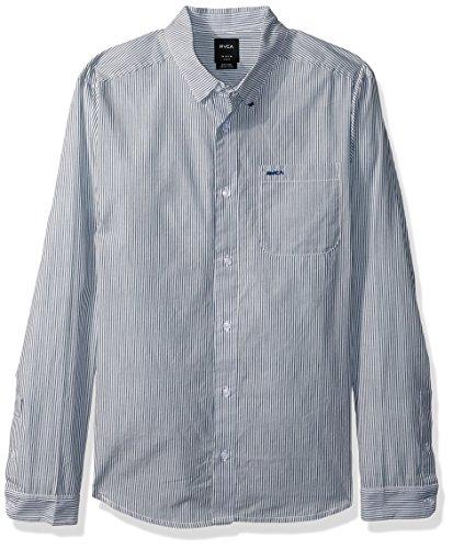 RVCA Men's Milkman Long Sleeve Shirt, Dark Denim X-Small]()