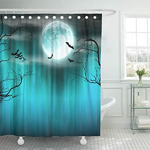 Abaysto Blue Night Spooky Halloween with Old Trees Silhouettes and Flying Bats Orange Decor Shower Curtain Sets with Hooks Polyester Fabric Great Gift