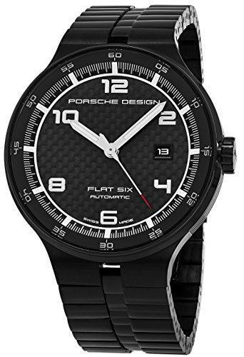 Porsche Design Flat Fix Mens Black Face Date Black Plated Stainless Steel Bracelet Swiss Automatic Watch 6350.4304.0275