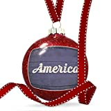 Christmas Decoration America Fourth of July Blue and White Wood Planks Ornament