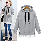 Womens Shirts Liraly Long Sleeve Zip Ruffles Fleece Loose Hooded Blouses Tops Shirts Pullover (S, Gray)