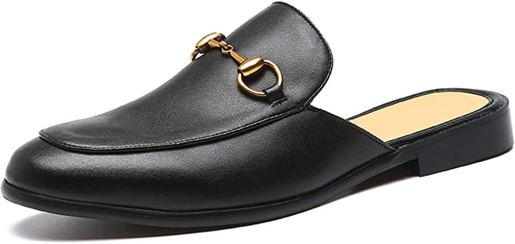 Backless Leather Casual Loafers Open