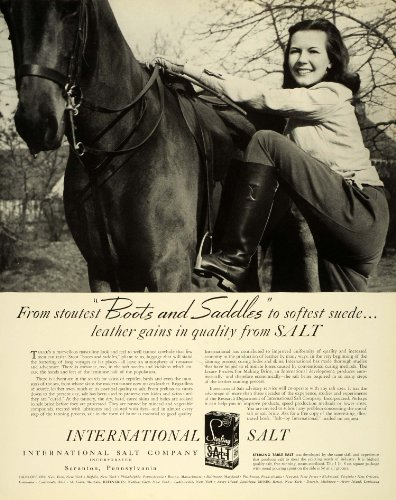 1941 Ad International Salt Tanned Leather Cowhide Horseback Riding Saddles Boots - Original Print Ad by...