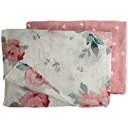 Bebe au Lait Oh So Soft Muslin Swaddle Blanket Set, Rosy and Dewdrops