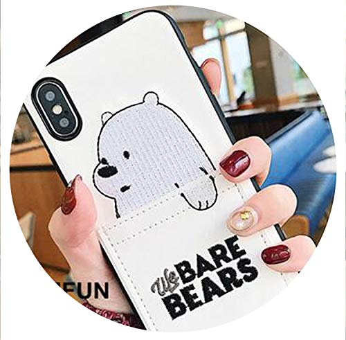 (Luxury Pu Leather Cartoon Bear Phone Case for iPhone 6 Xs XSMAX XR 6s7 8 Plus Soft TPU Cover with Card Pocket Bags Fundas,White,for i6 6s)