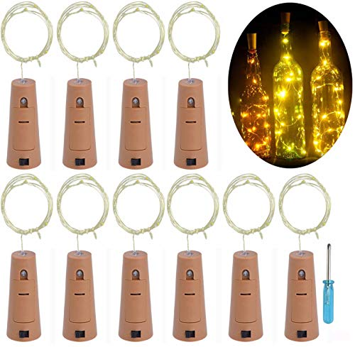 LRCXL Set of 10 Wine Bottle Cork Lights - 18inch/ 47cm 10 LED Silver Wire String Starry LED Lights for Bottle DIY Wedding Centerpieces Graduation Party Engagement Decorations(Warm White) -