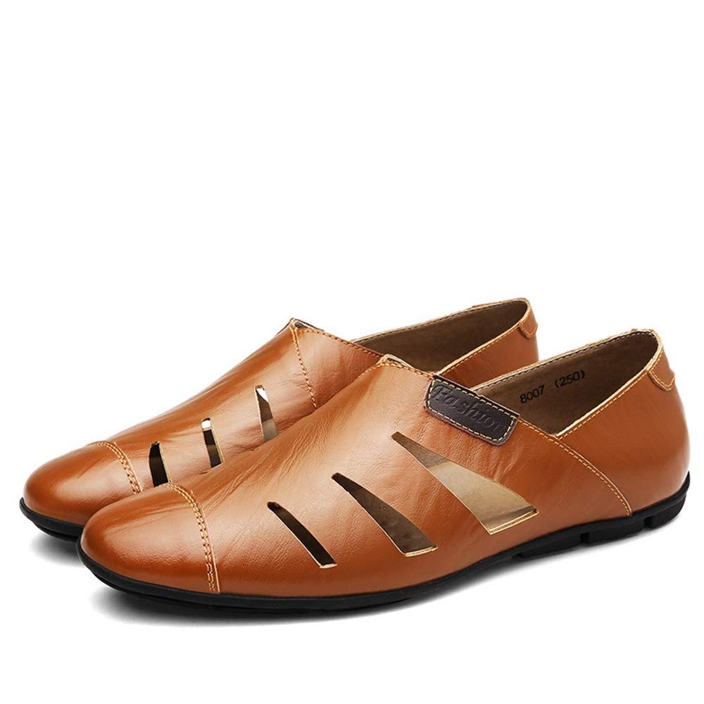 Qiusa Qiusa Qiusa  Herren aushöhlen echtes Leder Schuhe Non Slip beiläufige Breathable Loafers (Farbe : Braun, Größe : EU 45) Braun 3729f2