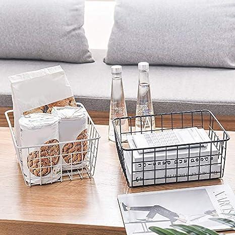 Cesto portaoggetti da cucina in ferro battuto With Cloth stile vintage bianco