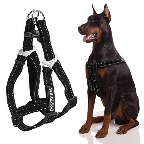Poppypet Nylon Non Pull Hundegeschirr, Verstellbar Pet Step-In Brustgeschirr für Hunde, Klassisch Einfarbig Hundegeschirr mit Zugentlastung, hundegeschirr zuggeschirr Schwarz L