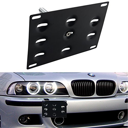 Dewhel Front Bumper Tow Hook License Plate Mount Bracket Holder Bolt On For BMW E82 E88 E90 E91 E92 E93 E70 E71 128i 135i 1M 325i 328i 330i 335i M3 (Accessories Tow Hooks)