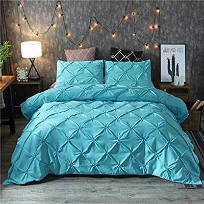 Image of Amuze Bedding 3-Piece Pinch Pleat Duvet Cover Set All Season Pintuck Style, Double Needle, Durable Stitching (Cal King,Sky Blue) Home and Kitchen