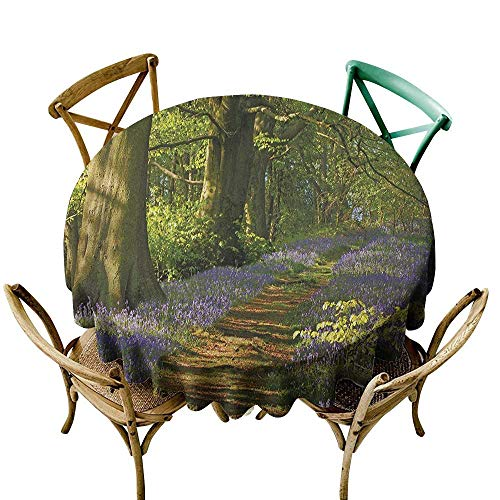 Wendell Joshua Navy Blue Tablecloth 70 inch Woodland,A Carpet of Bluebells Spreads Through Woodland in Staffordshire England, Green Purple Brown 100% Polyester Spillproof Tablecloths for Round Tables