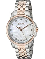 Bulova Accu Swiss Womens 65R164 Diamond Two Tone Watch