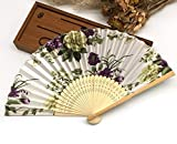 Beige Green 30Pcs/Lot Engraving Name And Date On The Rib For Wedding Souvenir Beauty Fabric Hand Fans
