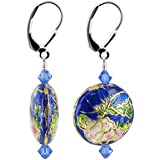 Gem Avenue 925 Sterling Silver Made With Swarovski Elements Floral Cloisonne Bead and Sapphire Color Crystal Handmade Leverback Drop Earrings