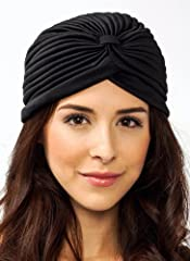 Stretchy pleated turban that doesn't include any closures. One Size Fits Most. Imported.