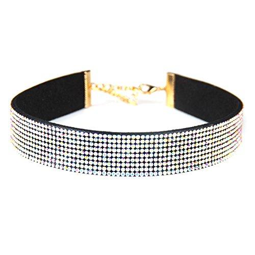 Gabrine Womens Girls Collar Choker Short Necklace Velvet Fashion Rhinestone for Wedding Party or Prom(4-Row) by Gabrine (Image #3)