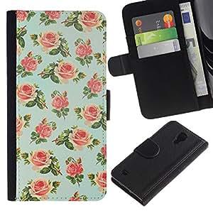 All Phone Most Case / Oferta Especial Cáscara Funda de cuero Monedero Cubierta de proteccion Caso / Wallet Case for Samsung Galaxy S4 IV I9500 // menta verde floral de rosa pintado retro