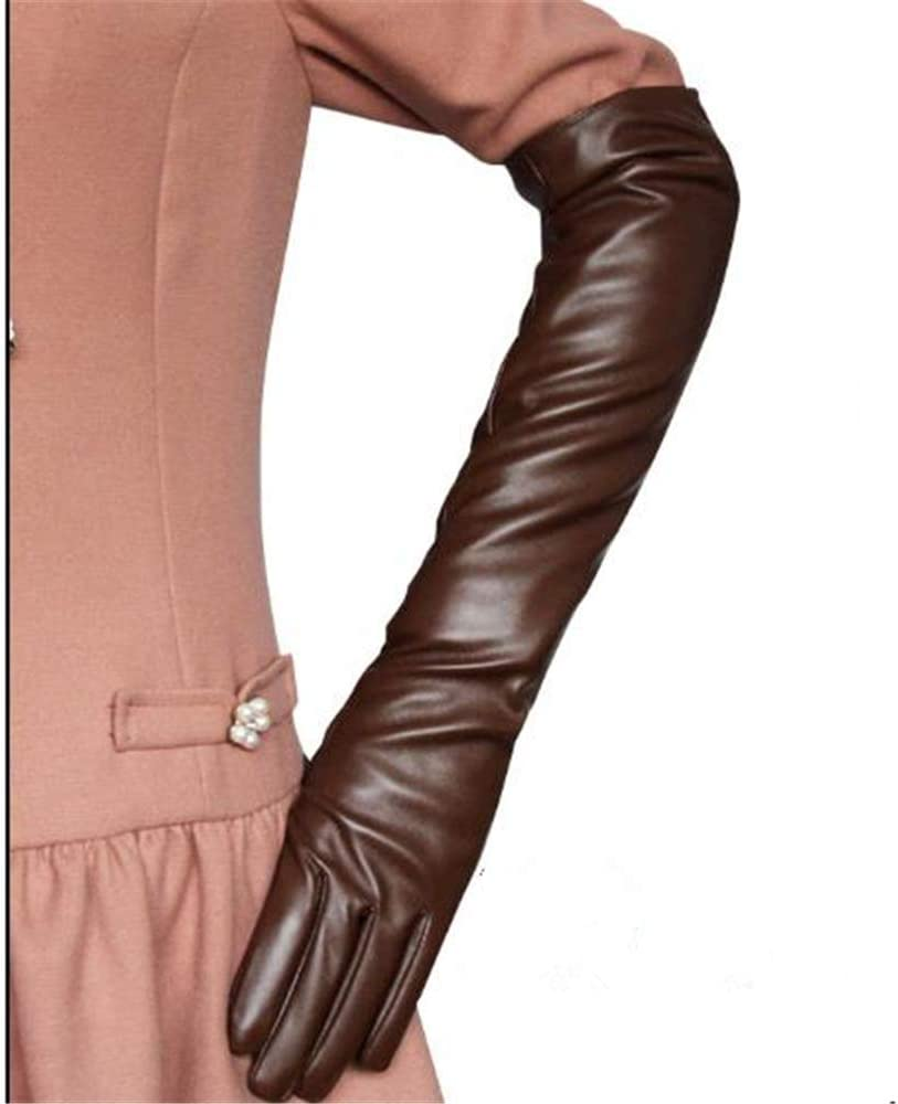 Guanti Guanti Da Donna Guanti Palestra Long Gloves Women Pu Leather Solid Black White Red Coffee Pink//Fashion Ladies Elbow Length Gloves