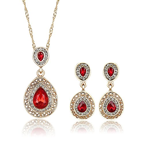 YIN E FANG Red Flame Austrian Crystal Necklace Earrings Fashion Jewelery Set -