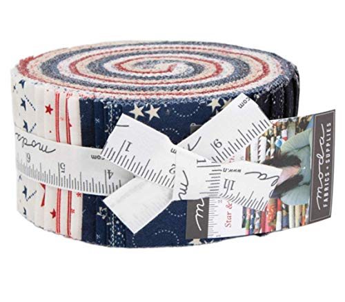 (Star & Stripe Gatherings Jelly Roll 40 2.5-inch Strips by Primitive Gatherings for Moda Fabrics 1260JR)