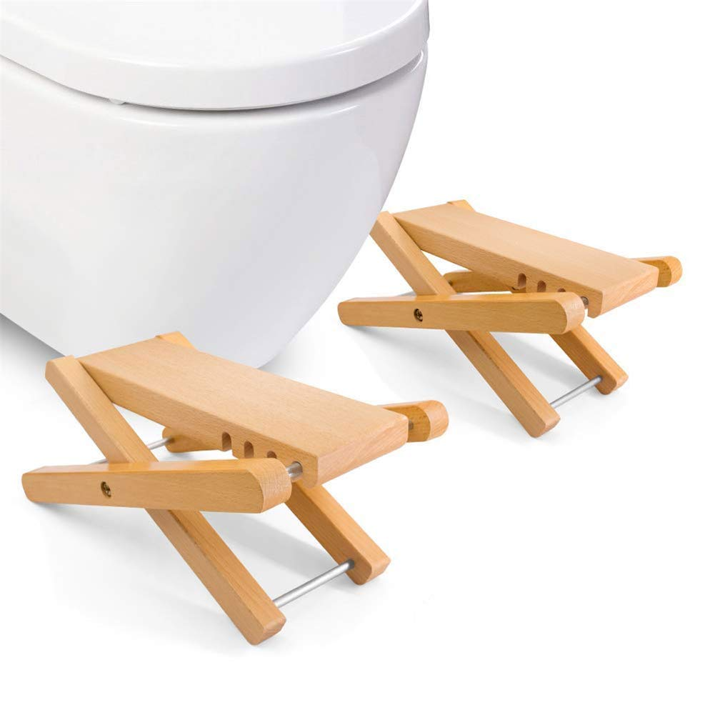 2PCS Adjustable Bamboo Potty Stool Chair Four gear Adjustable for Adults Potty Step Stool for Toilet Posture and Healthy by HB Toilet Stool