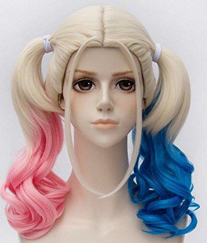 Diy-Wig Lolita Halloween Costume Wig Long Curly Pink Blue Ponytail Cosplay Wig