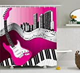 Black and Hot Pink Shower Curtains Music Shower Curtain by Ambesonne, Bass Guitar Keyboard Urban Rock Backdrop Rhythm of City Illustration, Fabric Bathroom Decor Set with Hooks, 70 Inches, Hot Pink Light Grey Black