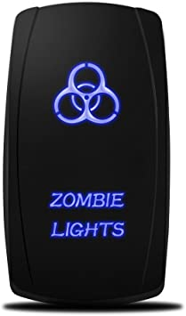 Amazon Com Mictuning Mic Lsz1 5 Pin Zombie Rocker Switch On Off Led Light 20a 12v Blue Automotive