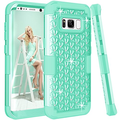 Samsung Galaxy S8 case, PIXIU Cute Rhinestone Bling Studded Resistant Shock-Absorption Hard Plastic+Soft Silicon Protective case for galaxy S8 2017 Release Mint Green