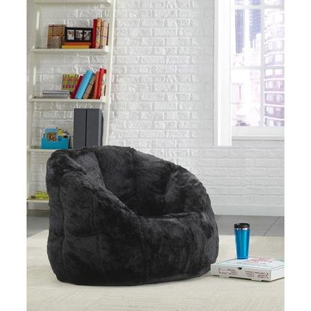 Cocoon Faux Fur Bean Bag Chair Lightweight yet durable, It Can Easily Be Moved About In A Room (Black)