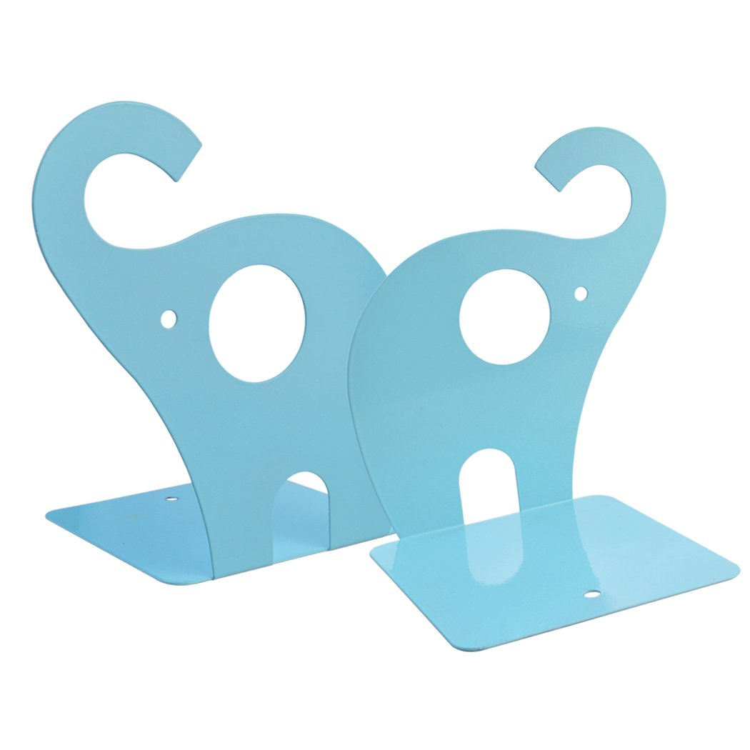 Rbenxia Cute Elephant Bookends Nonskid Art Bookend Gift Blue Elephant Nonskid Bookends Book Rack Book Organizer1 Pair for Office School Library
