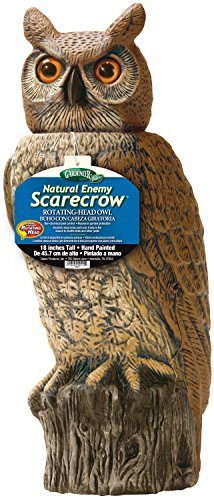 Gardeneer By Dalen RHO4 Natural Enemy Scarecrow Rotating Head Owl, Brown, 18 In. H. ()