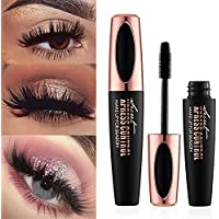 4D Silk Fiber Eyelash Mascara, Extra Long Lash Mascara Waterproof Not Blooming Curling Natural Eye Makeup Long Lasting Black