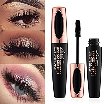 4D Silk Fiber Eyelash Mascara, Extra Long Lash Mascara Waterproof Not Blooming Curling Natural Eye