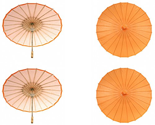 Koyal Wholesale 32-Inch Paper Parasol, 4-Pack Umbrella for Wedding, Bridesmaids, Party Favors, Summer Sun Shade (4, Orange) -