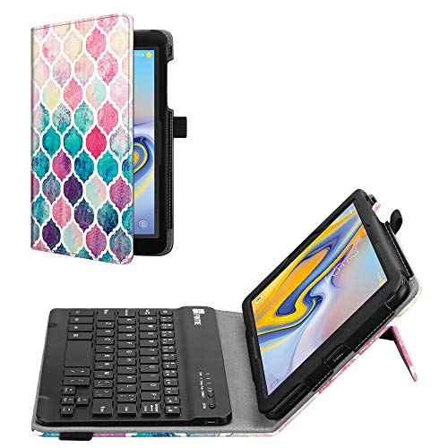 d Case for Samsung Galaxy Tab A 8.0 2018 Model SM-T387 Verizon/Sprint/T-Mobile/AT&T, Premium PU Leather Stand Cover with Removable Wireless Bluetooth Keyboard, Moroccan Love ()